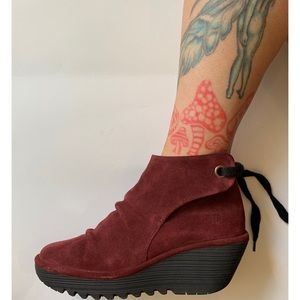 Fly London :: wine wedge suede Yebi bootie